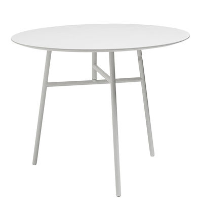 Product selections - Modern nature - Tilt Top Foldable table - Ø 90 cm by Hay - White - Lacquered steel, MDF veneer tinted ashwood
