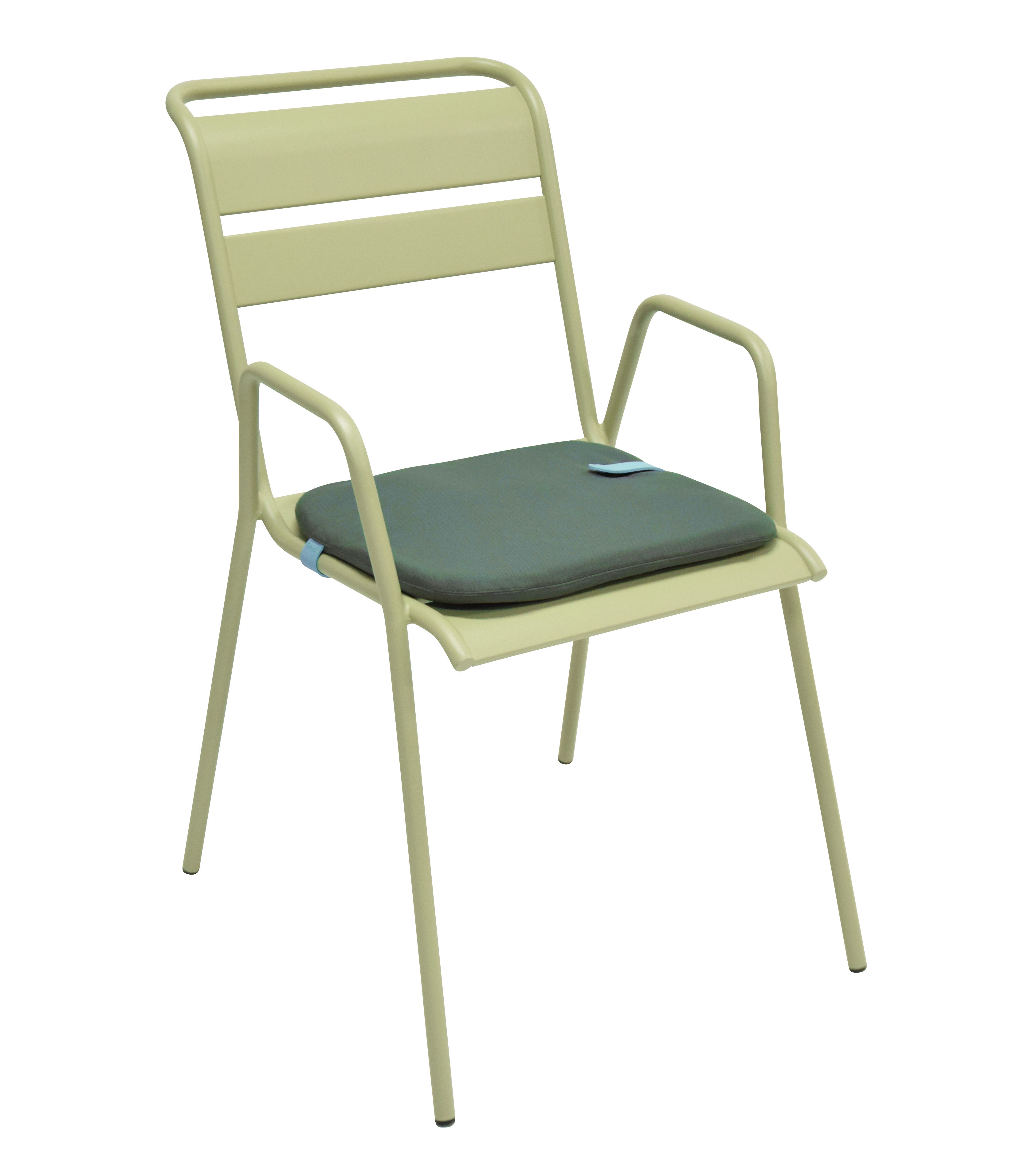 galette de chaise color mix 41 x 38 cm bleu goa sangle miel fermob made in design. Black Bedroom Furniture Sets. Home Design Ideas