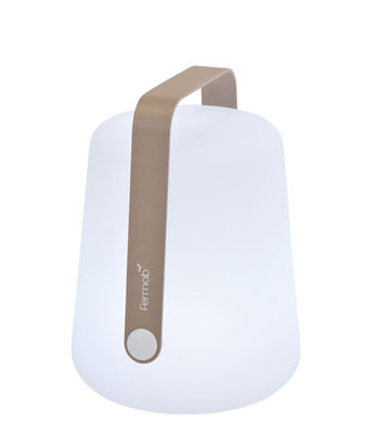 Leuchten - Tischleuchten - Balad Small LED Lampe ohne Kabel / H 25 cm - mit USB-Ladekabel - Fermob - Muskat - Aluminium, Polyäthylen
