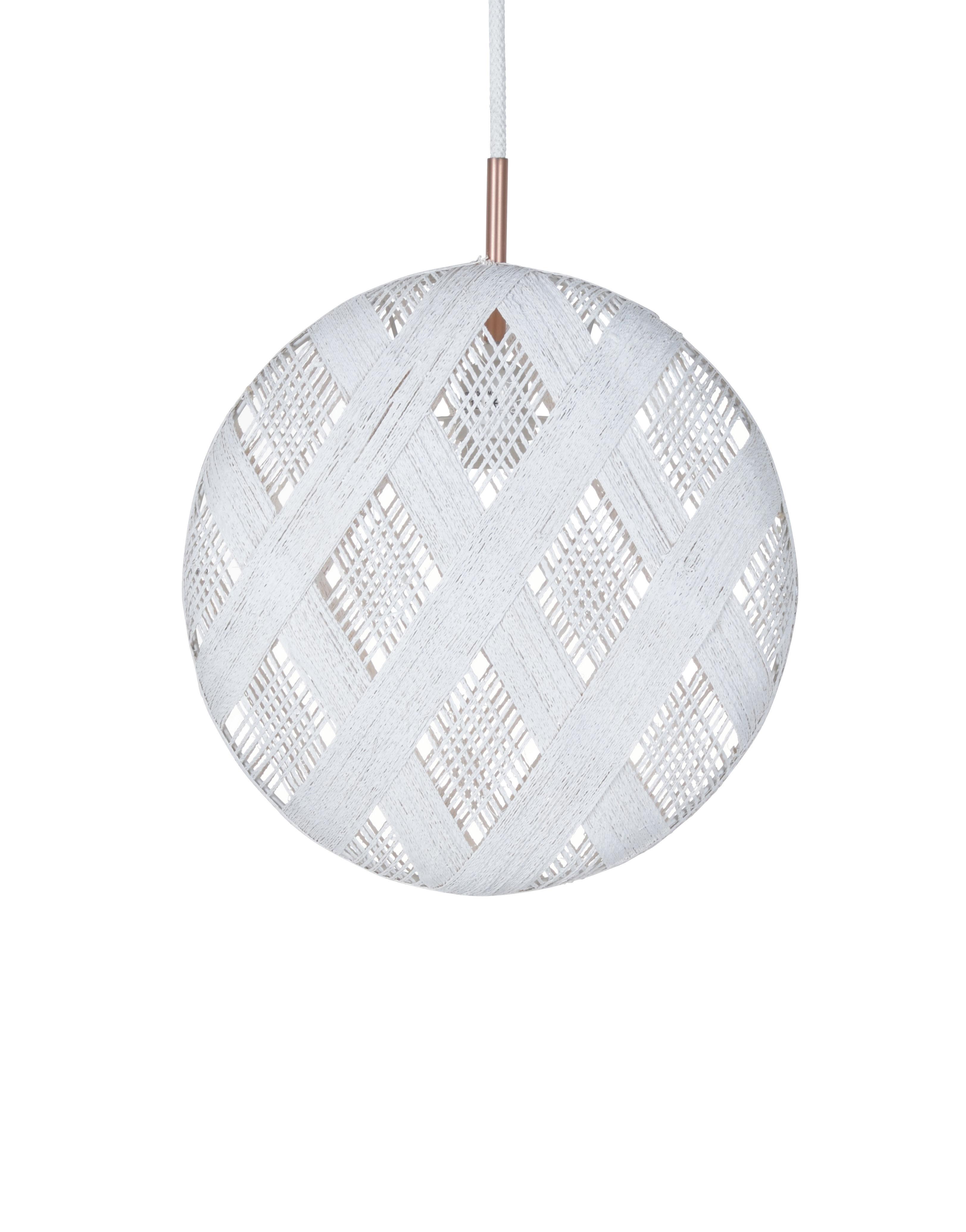 Lighting - Pendant Lighting - Chanpen Diamond Pendant - Ø 36 cm by Forestier - White / Diamond patterns - Woven acaba