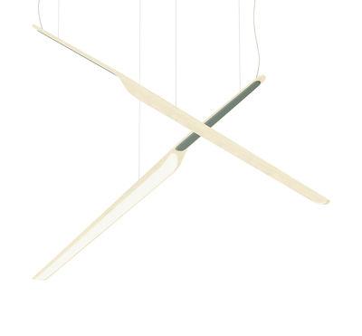 Leuchten - Pendelleuchten - Swan Wing Pendelleuchte / Holz - L 118 cm - Tunto - Birke / Grün-grau - Birkenholzfurnier, Polypropylen