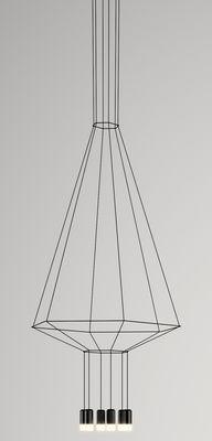 Leuchten - Pendelleuchten - Wireflow Pendelleuchte / 90 x 104 x H 132,5 cm - Vibia - Schwarz - Gewebe, Glas, lackiertes Metall, Teflon