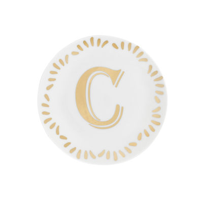 Tableware - Plates - Lettering Petit fours plates - Ø 12 cm / Letter C by Bitossi Home - Letter C / Gold - China