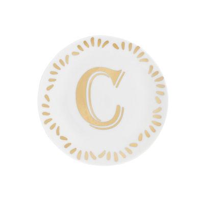 Tavola - Piatti  - Piatto per dolcetti Lettering - Ø 12 cm / Lettera C di Bitossi Home - Lettera C / Or - Porcellana
