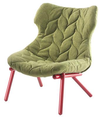 Arredamento - Poltrone design  - Poltrona imbottita Foliage di Kartell - Verde / Base rossa - Metallo, Schiuma di poliuretano, Tessuto