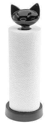 Porte-rouleau essuie-tout Miaou - Koziol noir opaque en matière plastique