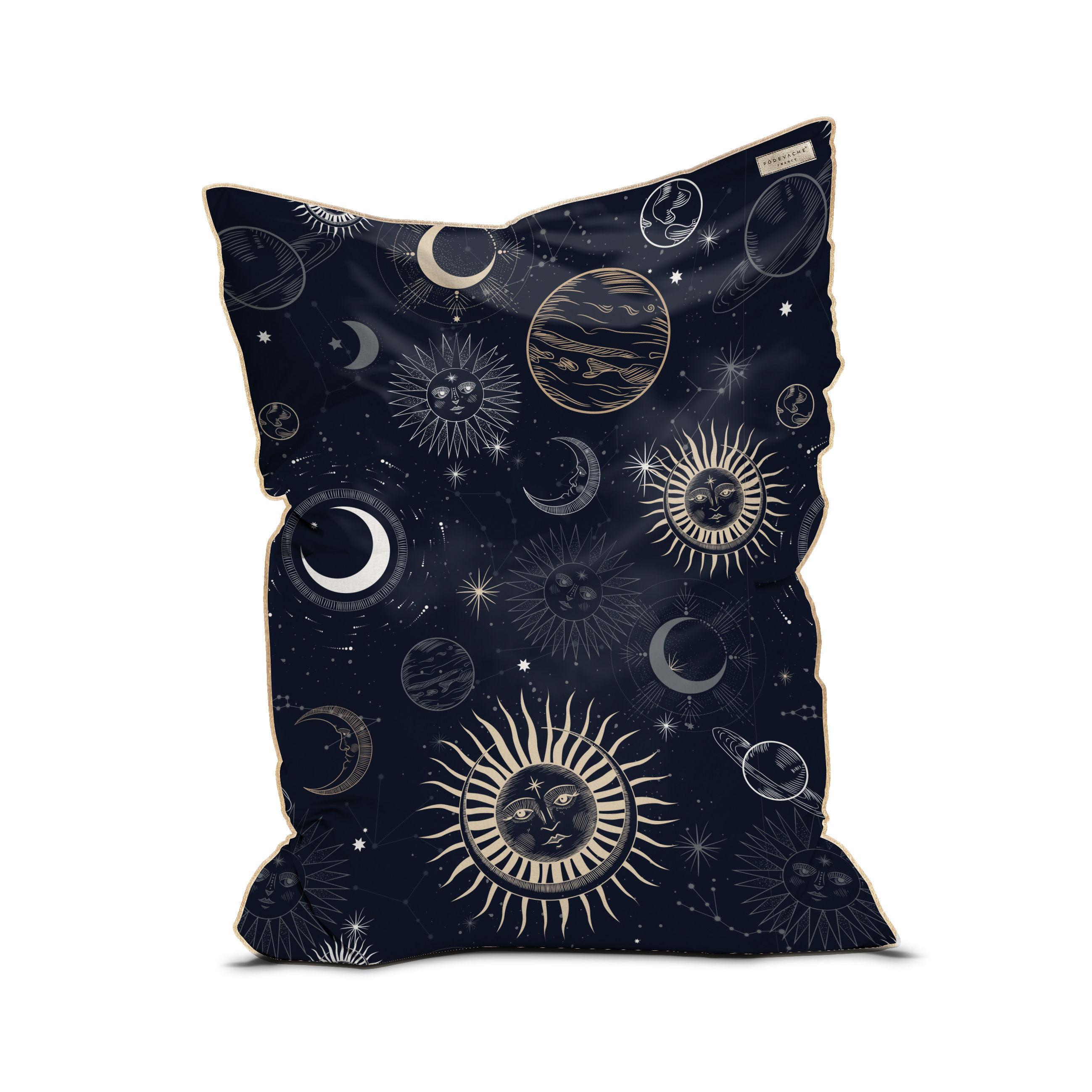 Furniture - Poufs & Floor Cushions - Moon Party Pouf - / Velvet - 115 x 145 cm by PÔDEVACHE - Blue - EPS balls, Fabric, Velvet
