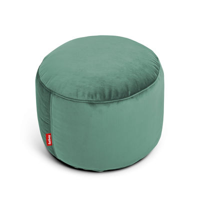 Furniture - Poufs & Floor Cushions - Point Velvet Pouf - / Recycled velours - Ø 50 cm by Fatboy - Sage green -  Micro-billes EPS, Foam, Velours polyester recyclé