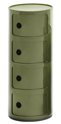 Rangement Componibili 4 tiroirs H 77 cm Kartell vert kaki en matière plastique