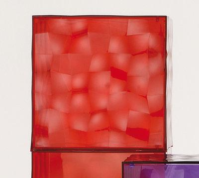 Rangement Optic avec porte - Kartell rouge transparent en matière plastique
