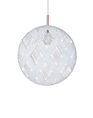 Illuminazione - Lampadari - Sospensione Chanpen Diamond - / Ø 36 cm di Forestier - Bianco / Motivi losanghe - Tessuto in abaca