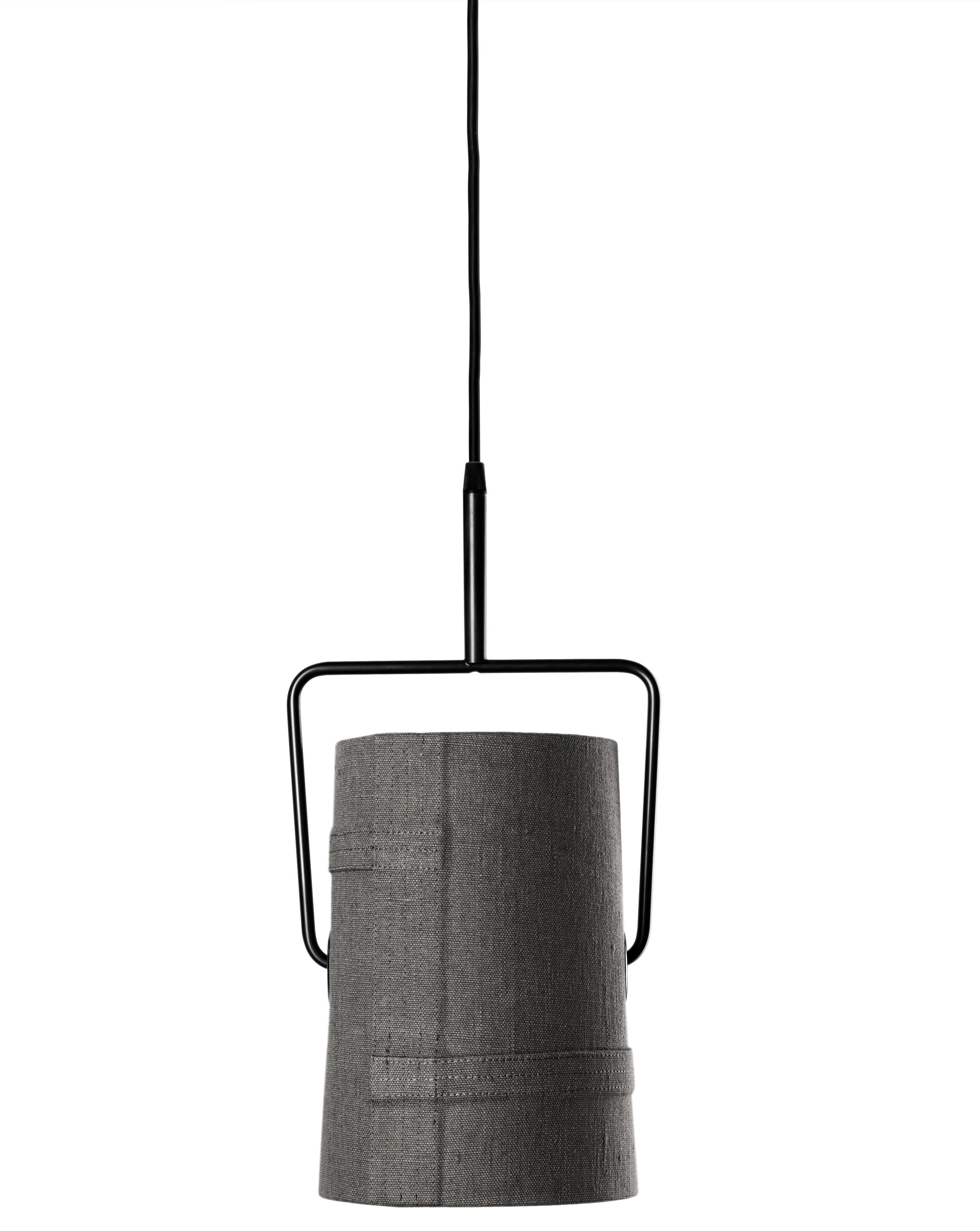 Illuminazione - Lampadari - Sospensione Fork piccola di Diesel with Foscarini - Grigio - Ø 22 cm x H 42 cm - Metallo anodizzato, Tessuto