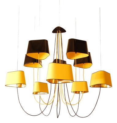 Illuminazione - Lampadari - Sospensione Grand Nuage - 10 paralumi di Designheure - Nero- giallo-oro - Cotone percalle, PVC