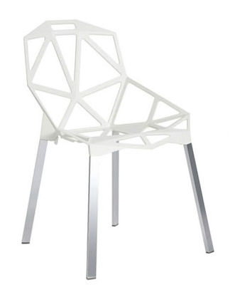 Furniture - Chairs - Chair one Stacking chair - Metal by Magis - White - Polished anodized aluminium, Varnished cast aluminium