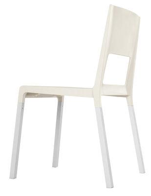 Möbel - Stühle  - Face Stapelbarer Stuhl - Kristalia - weiß - eloxiertes Aluminium, Polyurhethan