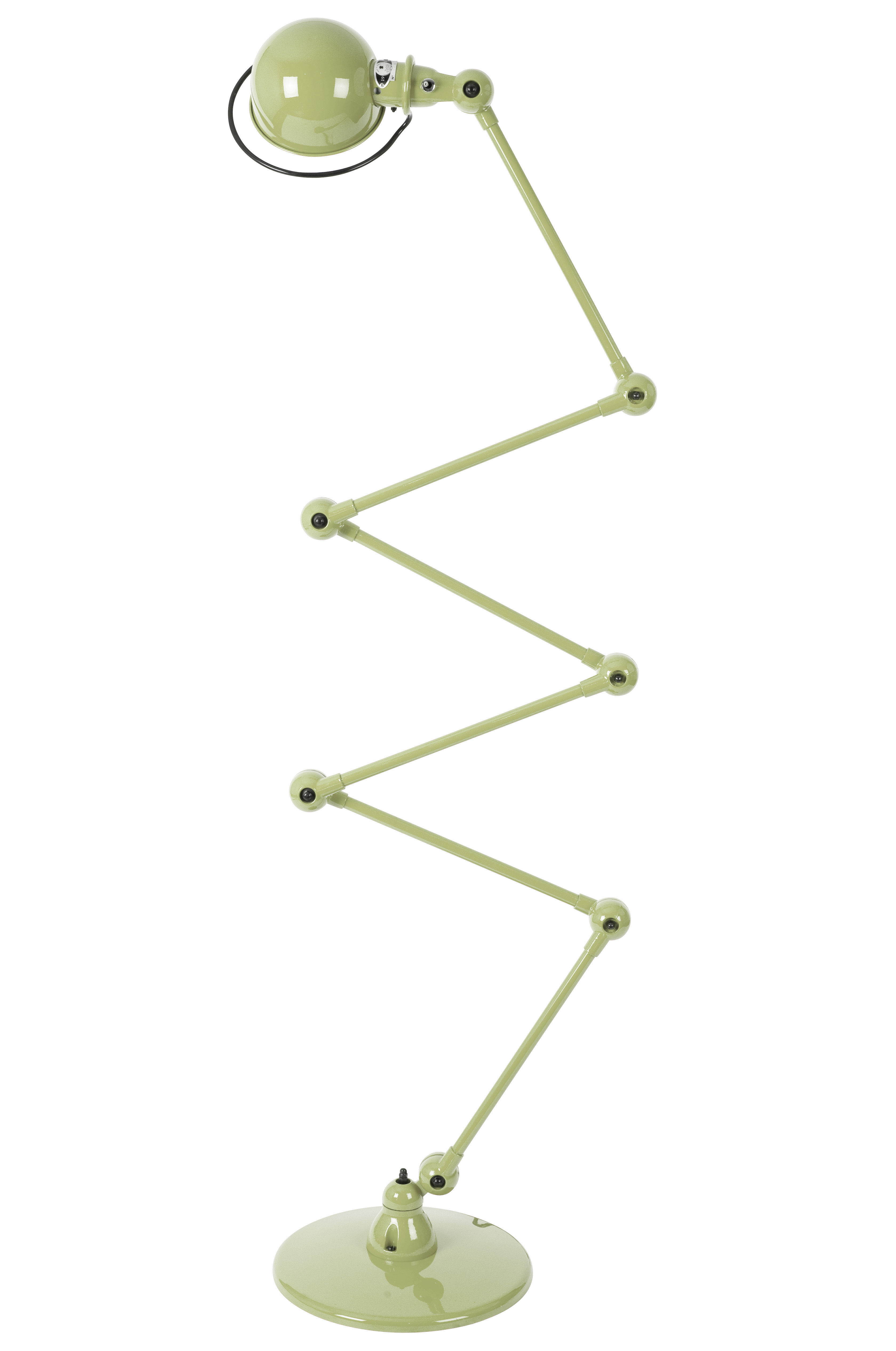 Leuchten - Stehleuchten - Loft Zigzag Stehleuchte / mit 6 Gelenkarmen - H max. 240 cm - Jieldé - Khaki, glänzend - rostfreier Stahl