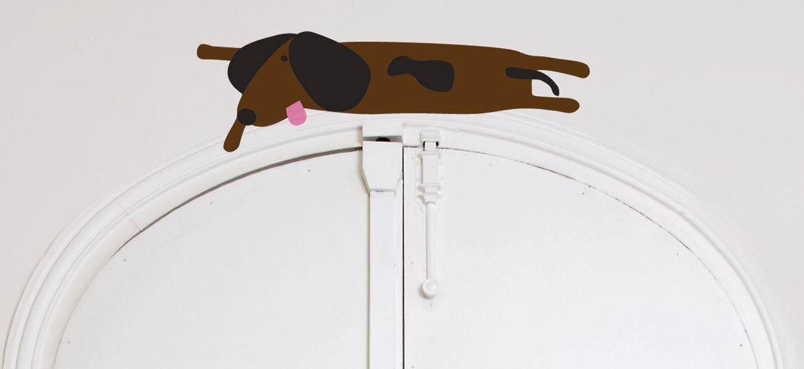 Interni - Sticker - Sticker Dog en kit 1 di Domestic - Marrone / grigio / rosa - Vinile