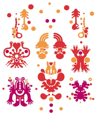 Interni - Sticker - Sticker Monster Forest Red di Domestic - Rosso - Vinile