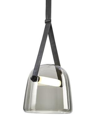 Suspension Mona / Verre - Brokis noir en cuir/verre