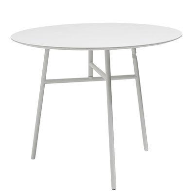 Dossiers - Tendance Nature moderne - Table pliante Tilt Top / Ø 90 cm - Bois & métal - Hay - Blanc - Acier laqué, MDF plaqué frêne teinté