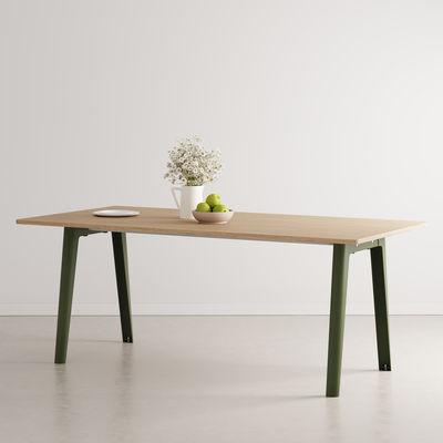 Table rectangulaire New Modern / 190 x 95 cm - Chêne éco-certifié / 8 à 10 personnes - TIPTOE vert en métal/bois
