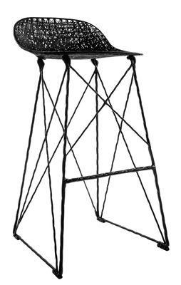 Tabouret haut Carbon Outdoor / H 76 cm - Fibre de carbone - Moooi noir en matière plastique
