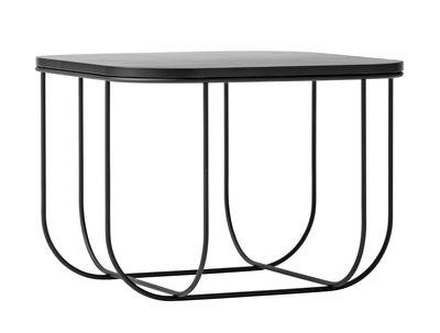 Arredamento - Tavolini  - Tavolino d'appoggio Cage - / Contenitore - H 30 cm di Menu - Nero - Acciaio, Frassino