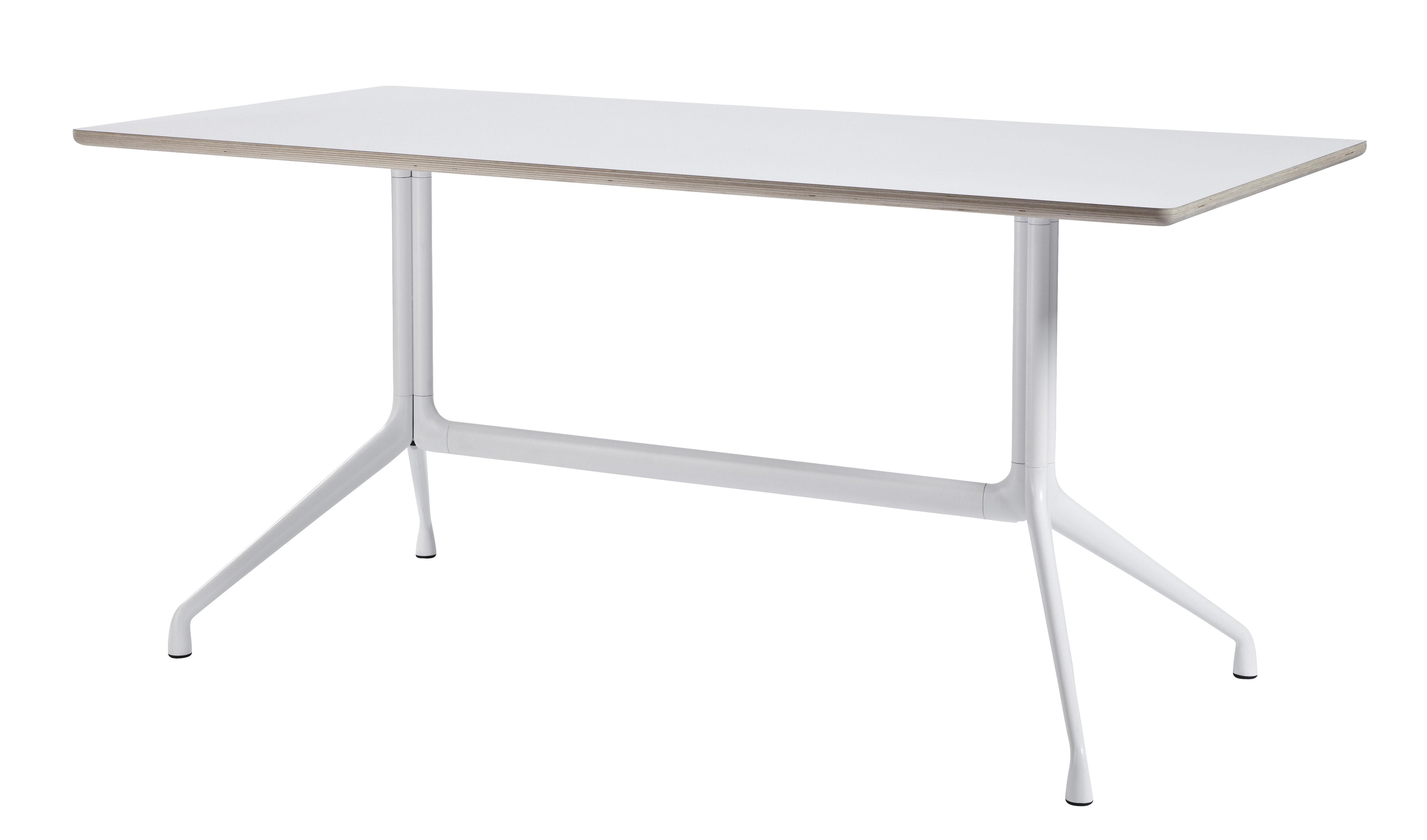 Arredamento - Mobili da ufficio - Tavolo About a Table / 160 x 80 cm - Hay - Bianco - Ghisa di alluminio, Linoleum verniciato