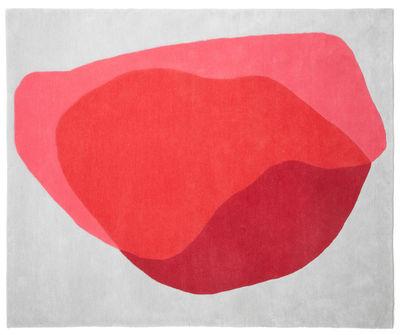 Dekoration - Teppiche - Jane Teppich / 220 x 180 cm - handgeknüpft - Hartô - Rotes Muster auf hellgrauem Grund - Wolle