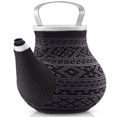 Arts de la table - Thé et café - Théière My Big Tea /Avec fourreau tricot - 1,5L - Eva Solo - Gris foncé à motif Jacquard - Acier inoxydable, Porcelaine, Silicone, Tricot