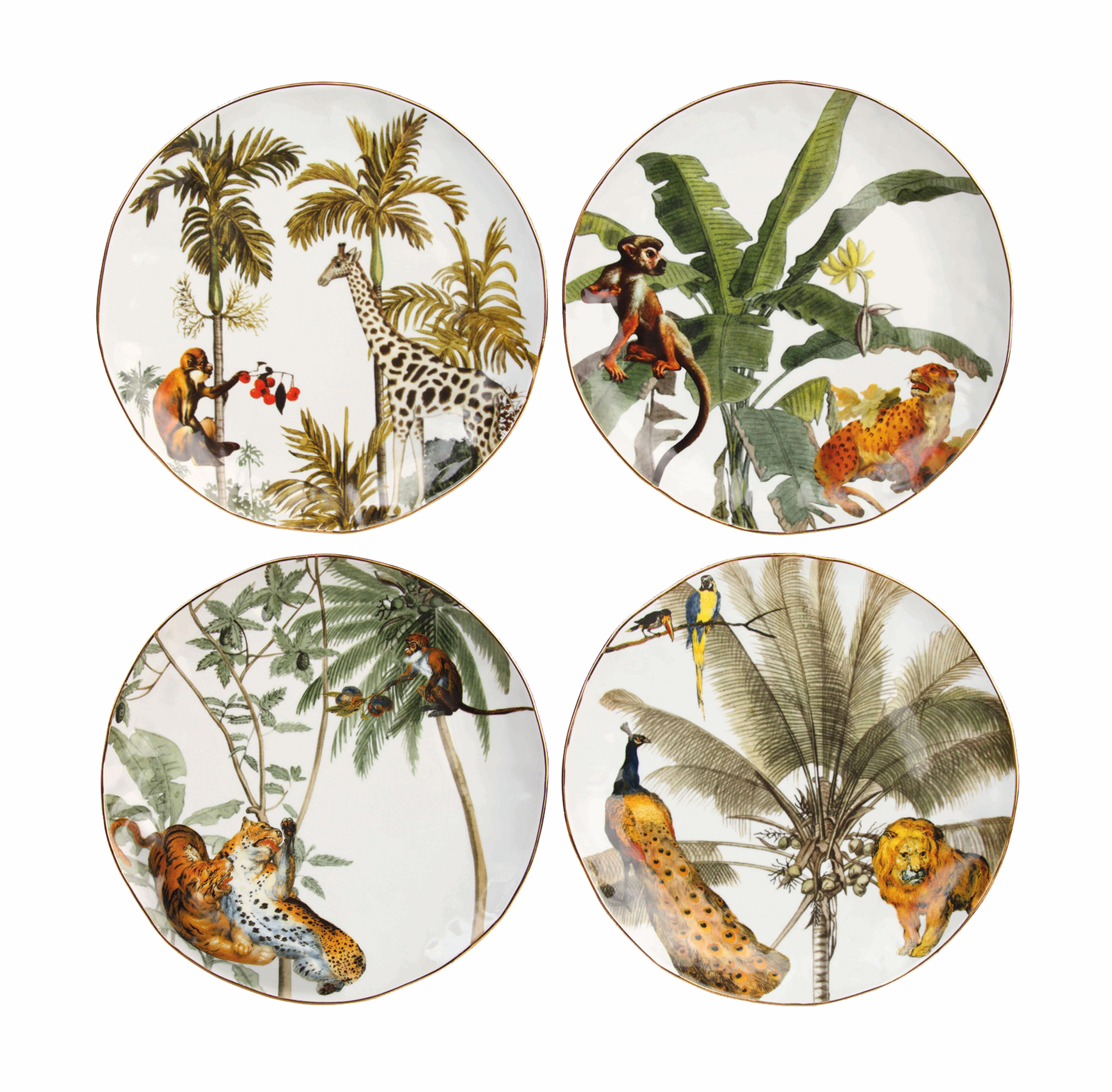 Arts de la table - Assiettes - Assiette Jungle / Set de 4 - Porcelaine - & klevering - Jungle / Multicolore - Porcelaine fine