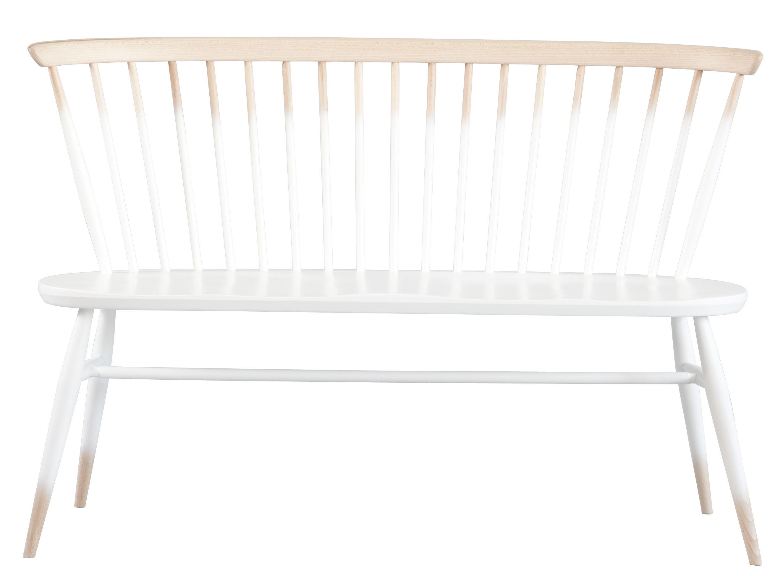 Möbel - Bänke - Love Seat Bank mit Rückenlehne / L 117 cm - Neuauflage des Originals von 1955 - Ercol - Weißtöne / Holz - massive Buche, Orme massif