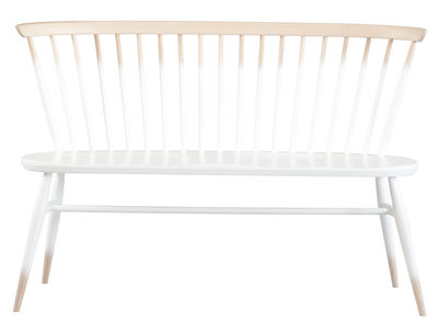 Furniture - Benches - Love Seat Bench with backrest - 117 cm - 1955 Reissue by Ercol - Half white / Wood - Natural beechwood, Solid elm