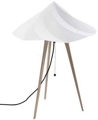 Leuchten - Tischleuchten - Chantilly Large Bodenleuchte / H 65 cm - Moustache - Grau - Polypropylène recyclé, Vielschicht-Sperrholz in Eiche