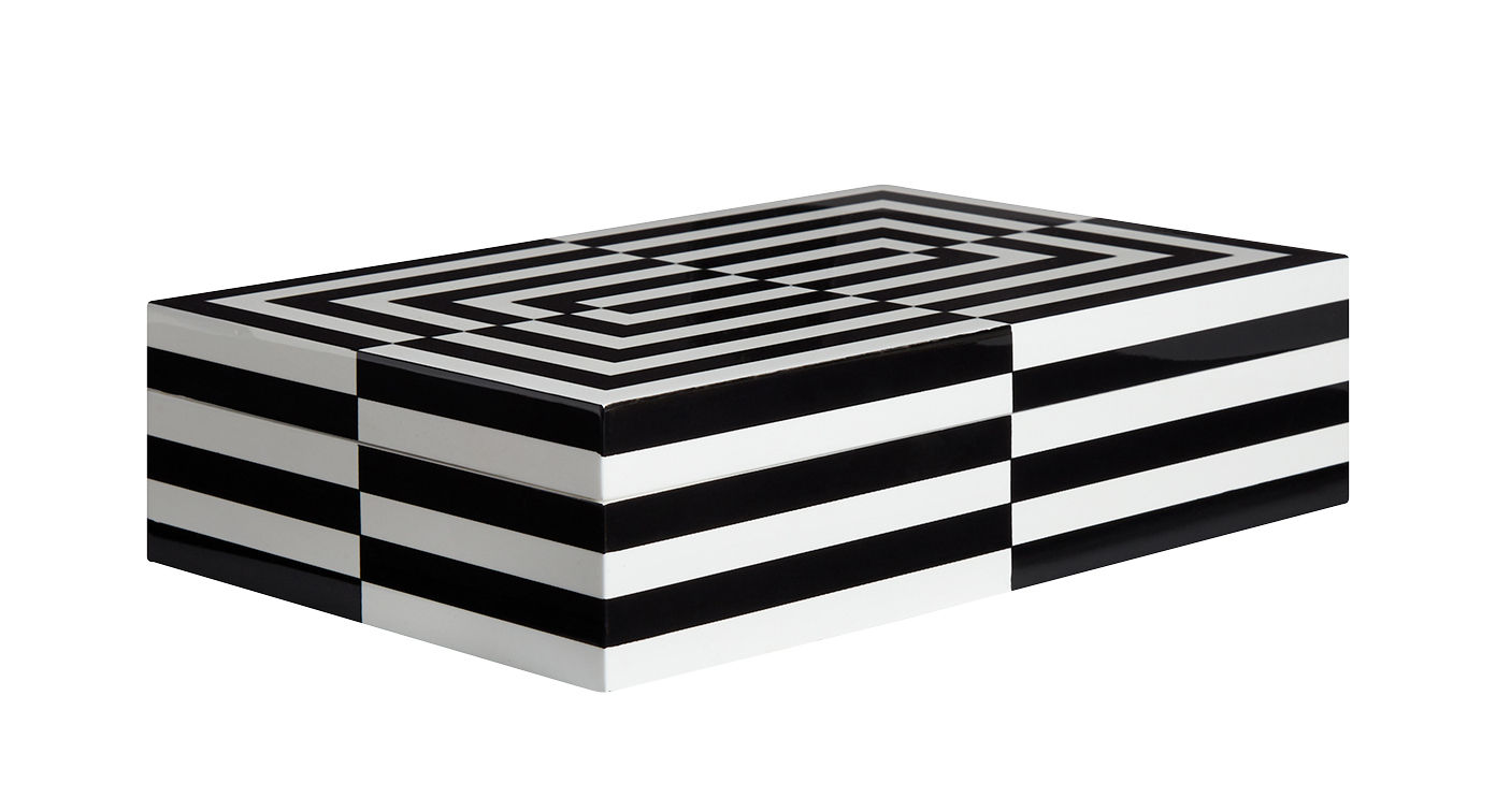 Déco - Boîtes déco - Boîte Op Art Large / Laque - 30 x 20 cm - Jonathan Adler - Large / Noir & blanc - Bois laqué, Velours
