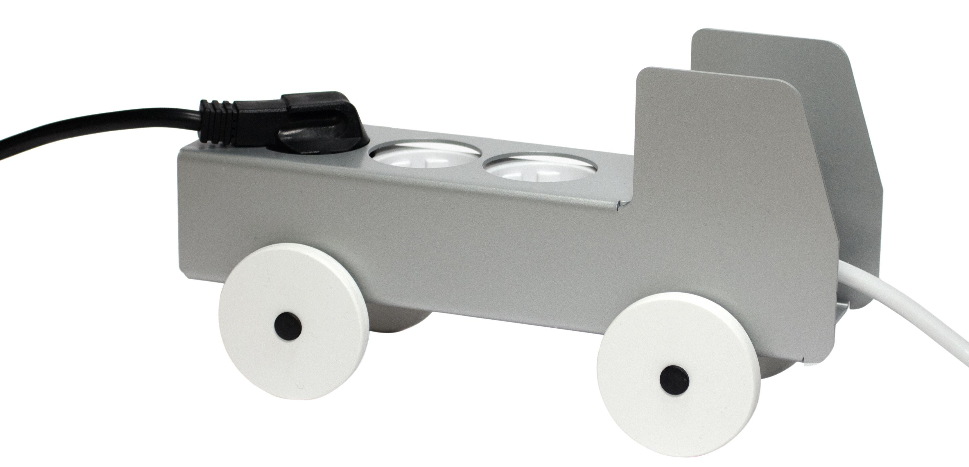 Accessoires - Objets connectés, accessoires high tech - Cache-multiprise Plug Truck / 3 prises - Details - Pop Corn - Gris - Bois, Métal laqué