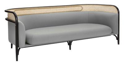 Canapé droit Targa 3 places L 200 cm Cannage tissu Wiener GTV Design gris,noir,paille naturelle en tissu