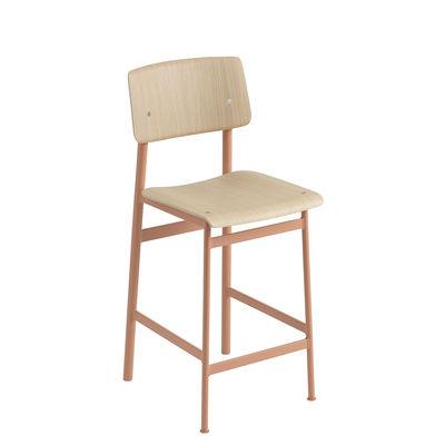 Mobilier - Tabourets de bar - Chaise de bar Loft / H 65 cm - Bois & métal - Muuto - Rose poudré / Chêne - Acier laqué époxy, Contreplaqué de chêne verni
