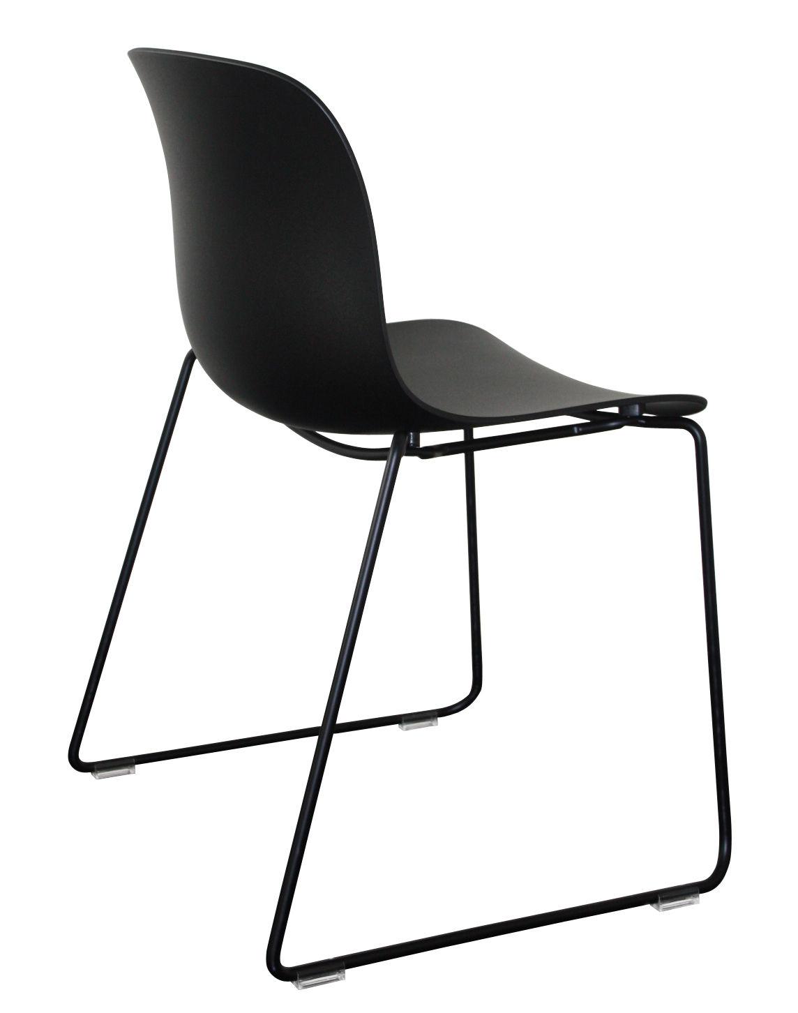 Mobilier - Chaises, fauteuils de salle à manger - Chaise empilable Troy Outdoor / Plastique & pied luge - Magis - Noir /  Pied noir - Acier  verni, Polypropylène