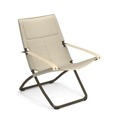 Mobilier - Fauteuils - Chaise longue Snooze Cosy / Tissu maille - Pliable - 2 positions - Emu - Châtaigne / Structure bronze - Acier galvanisé peint, Maille 3D synthétique, Microfibre
