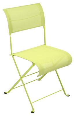 Mobilier - Chaises, fauteuils de salle à manger - Chaise pliante Dune / Toile - Fermob - Verveine - Acier laqué, Toile polyester