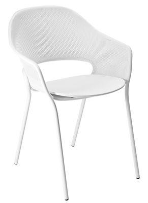Mobilier - Chaises, fauteuils de salle à manger - Fauteuil empilable Kate / By Patrick Jouin - Métal - Fermob Idoles - Blanc coton - Acier