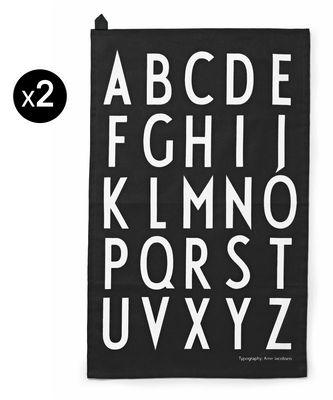 Küche - Schürzen und Geschirrtücher - Arne Jacobsen Geschirrtuch / 2er-Set - Design Letters - Schwarz / Aufdruck weiß - Baumwolle
