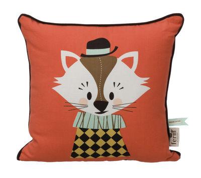 Dekoration - Für Kinder - Aristo Katt Kissen - Ferm Living - Weiß, gelb und grün - Hintergrund rot - Baumwolle