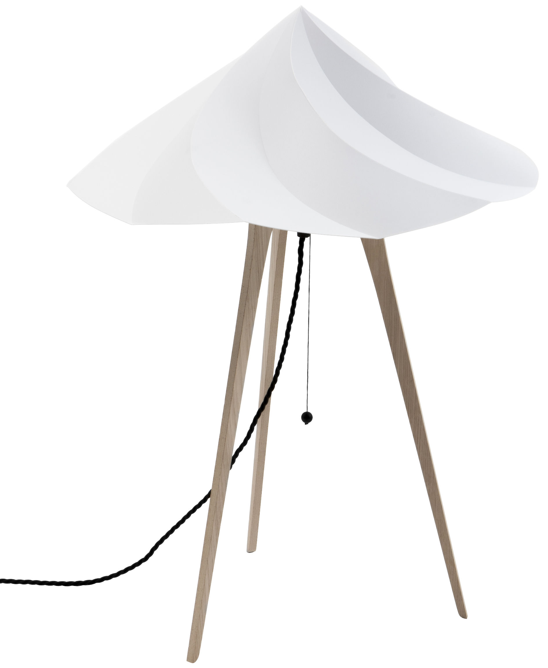 Lighting - Table Lamps - Chantilly Large Lamp by Moustache - Grey - Oak plywood, Recycled polypropylene