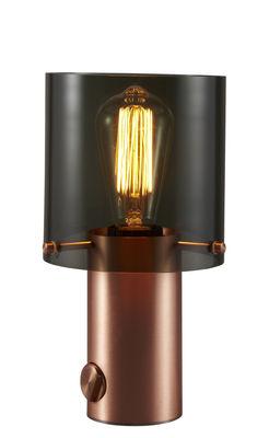 Illuminazione - Lampade da tavolo - Lampada da tavolo Walter 1 - / H 27 cm - vetro e rame di Original BTC - Vetro antracite / Rame satinato - Rame satinato, Vetro