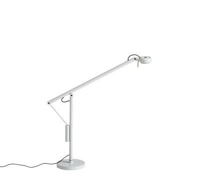 Luminaire - Lampes de table - Lampe de table Fifty-Fifty Mini / Orientable - H 45 cm - Hay - Gris cendré - Acier laqué époxy, Aluminium, Fonte de sable, Mousse, Silicone