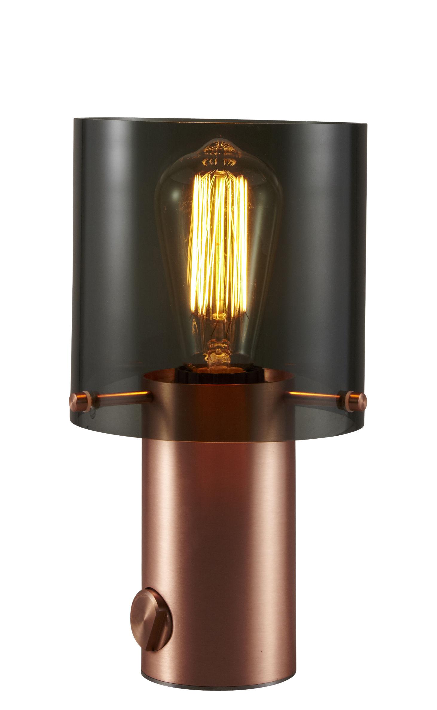 Luminaire - Lampes de table - Lampe de table Walter 1 / H 27 cm - Verre et cuivre - Original BTC - Verre anthracite / Cuivre satiné - Cuivre satiné, Verre
