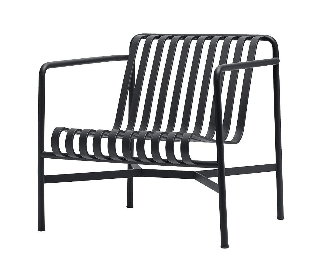 Möbel - Lounge Sessel - Palissade Lounge Sessel / mit niedriger Rückenlehne - R & E Bouroullec - Hay - Anthrazit - Epoxy-Farbe, Galvanisch verzinkten Stahl
