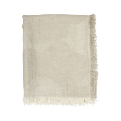 Decoration - Bedding & Bath Towels - Unikko Plaid - / 146 x 188 cm by Marimekko - Unikko / Off white & beige - Cotton, Linen
